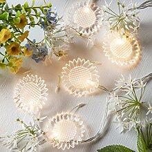 20er LED Blumen Lichterkette warmweiß