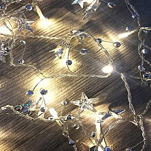 LED Lichterkette Beleuchtung Dekoration batteriebetrieben mit silbernen Glocken