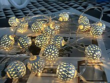 20er LED Lichterkette Marokkanische Kugel Silber