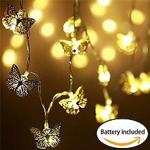 20er LED Lichterkette mit Batterie, Lichterkette innen Kinderzimmer, Deko Schmetterling batteriebetrieben, Weihnachten/ Hochzeit/ Party/ Weihnachtsbaum/ Dekolampe/Halloween, warmweiß