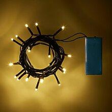 20er LED Lichterkette warmweiß batteriebetrieben grünes Kabel