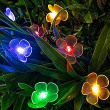 20er LED Solar Lichterkette Blumen bunt Lights4fun