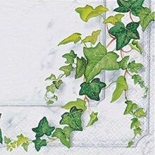 20er Pack Servietten EFEU weiß grün 33x33cm