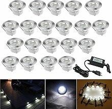 20er Set Terrassen Einbaustrahler LED