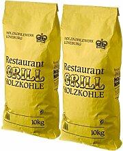 20kg Premium Grill-Holzkohle KRONE - hochwertige Grillkohle aus Buchenholz für den Kugel-Grill - raucharm, lange Glutzeit und extra schnelles Anzünden