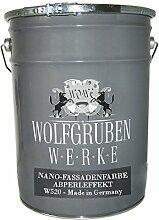 20L NANO FASSADENFARBE - FARBAUSWAHL - WANDFARBE MIT LOTUSEFFEKT FARBE ABPERLEFFEKT FASSADEN AUSSEN WASSERABWEISEND SEIDENMATT WOLFGRUBEN WERKE (WO-WE) W520 l Grauweiss ähnl. RAL 9002 - 20 Liter