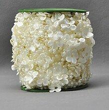 20mm Rosen blüht Perlen Roll Perlen Girlande wie eine große Blume von der Rolle -Hochzeit Party Dekor DIY Zubehör Dekorat Braut Kleid (60 Meter /) (beige weiß) , Beige