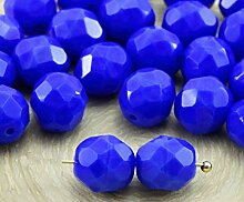 20pcs Opaque Medium Dark Blue Saphir Rund