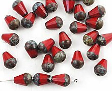20pcs Picasso Coral Red Brown Birne Teardrop