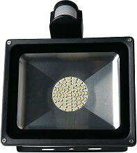 20W/30W/50W/80W LED SMD Fluter Strahler Squre Wandleuchter Flutlicht Scheinwerfer Außenstrahler Innenbeleuchtung Warmweiß mit Bewegungsmelder (50 Watt)