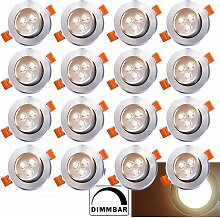 20x LED Einbaustrahler Einbau-Spots Schwenkbar 3W