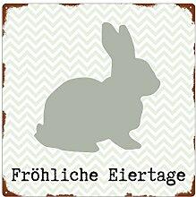 20x20cm METALLSCHILD Türschild FRÖHLICHE EIERTAGE Ostern Dekoration Geschenk