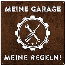 20x20cm Schild MEINE GARAGE MEINE REGELN Auto Deko Blechschild