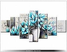 210x100cm - Leinwandbild mit Wanduhr - Moderne Dekoration - Holzrahmen - Magnolien in Blautönen