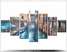 210x100cm - Leinwandbild mit Wanduhr - Moderne Dekoration - Holzrahmen - Gondel, Haus, Häuser, Wasser, Kanal, Stadt, Italien, Ve