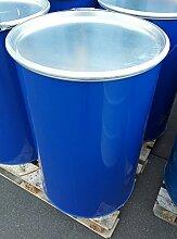 216 Liter Deckel- und Spundfässer nutzbar als Lagertonne, Futterfass, Feuertonne und Regentonne (Blau/Lila Deckelfass)