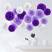 21er Seidenpapier PomPoms Pompons Party Geburtstag Feier Dekoration - Weiß Lila Lavendel, 25cm &35cm