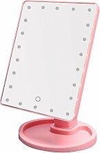 22 LED Kosmetikspiegel Beleuchtung Dimmbar Touch Switch 360 ° Make-up Spiegel Tischspiegel Standspiegel Beleuchtet (Pink)