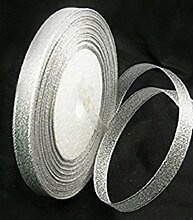 22Meter x 12mm metallic silber Organza