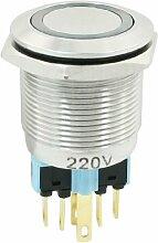 22mm 220VDC blau Ring Lampe Latching Metall Push Button Switch 1NO 1NC