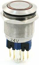 22mm Halterung Dia 24VDC rot Ring Lampe Latching Push Button Switch NO NC