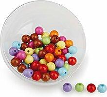 220 Gramm Colourbeads Perle mit Loch, Kunststoff , bunt ca. D:8mm