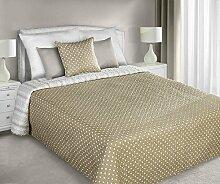 220x240 Gepunktete Tagesdecke mit gepresstem Mustrer weiß beige Bettüberwurf Steppbettüberwurf Steppung white dots