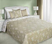 220x240 Romantische Tagesdecke mit Blumenmuster creme beige Bettüberwurf Steppbettüberwurf Steppung englischer Stil