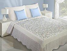 220x240 Romantische Tagesdecke mit Blumenmuster weiß blau Patchwork Bettüberwurf Steppbettüberwurf Steppung englischer Stil