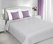 220x240 Tagesdecke mit gepresstem Muster silber Bettüberwurf Steppbettüberwurf Steppung romantisch rustikal silver