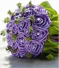 23 Künstliche Blumen Brautstrauß Hochzeit Zubehör ( Color : Lila )