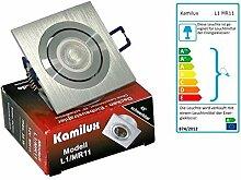 230V Kleiner Bad Einbaustrahler von Kamilux Modell Mini-Kanto L1 & LED-Strahler 3W GU10 35mm ∅ (Lichtfarbe Warm-Weiß)