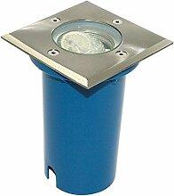 230V Terrassenspot Bodeneinbaustrahler Wegbeleuchtung Gartenbeleuchtung BODOS ECKIG IP67 inkl.GU10 Fassung für LED oder Halogen-Leuchtmittel mit GU10 Sockel/begehbar für Innen und Aussen geeigne