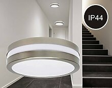 230V Wand- / Decken Aufbauleuchte TAMA RUND IP44 für Energiesparlampen (ESL) und LED Leuchtmittel mit E27 Schraubgewinde Deckenleuchte Wandleuchte Hauswandleuchte Edelstahl gebürstet Optik