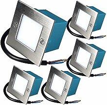 230V Wandeinbauleuchten LED Einbaustrahler Lea 5 x