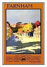238 Farnham-Eisenbahn Seaside Classic Oldschool Best Color für A3 Bilderrahmen, Vintage-Poster