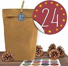 24 Adventskalender Kraftpapiertüten mit 24