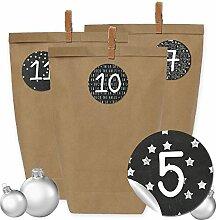 24 Adventskalender Kraftpapiertüten, Zahlenaufkleber und Klammern - DIY Set zum selber Basteln und zum Befüllen für Männer - Design 16