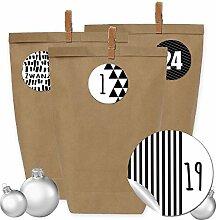 24 Adventskalender Kraftpapiertüten, Zahlenaufkleber und Klammern - DIY Set zum selber Basteln und zum Befüllen für Erwachsene - Design 4