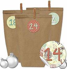 24 Adventskalender Kraftpapiertüten, Zahlenaufkleber und Klammern - DIY Set zum selber Basteln und zum Befüllen für Mädchen - Design 24