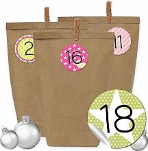 24 Adventskalender Kraftpapiertüten, Zahlenaufkleber und Klammern - DIY Set zum selber Basteln und zum Befüllen für Mädchen - Design 14