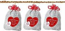 24 Adventskalender Säckchen aus Filz mit 24