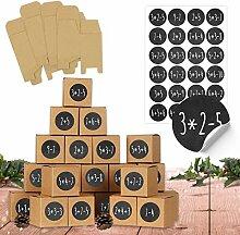 24 Adventskalender Schachteln zum Befüllen - 24