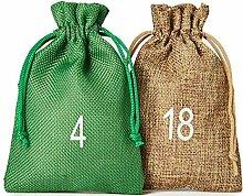 24 Adventskalender-Stoffsäckchen im feinen