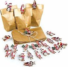 24 Adventskalender Tüten GOLD 9 x 15 x 3,5