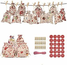 24 Adventskalender Weihnachten Geschenksäckchen,