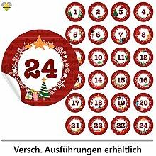 24 Adventskalender-Zahlen (Aufkleber Etiketten