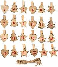 24 Adventskalender-Zahlen Holz Klammern Mit Stern