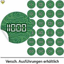 24 Adventskalender-Zahlen | Selbstklebend | Computer Platine Look | Binärcode / Binärzahlen | Rund | XL » Ø 85 mm | Grüne Platine | FB0081-01 | Die ideale Ergänzung zu DIY Adventskalender zum selbst Befüllen und Gestalten | Aufkleber / Etiketten / Sticker von Cute-Head » CuteLove & Head-Bea