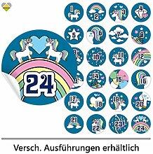 24 Adventskalender-Zahlen | Selbstklebend | Einhorn / Unicorn | Rund | XL » Ø 85 mm | Mittelblau | FB0107-10 | Die ideale Ergänzung zu DIY Adventskalender zum selbst Befüllen und Gestalten | Aufkleber / Etiketten / Sticker von Cute-Head » CuteLove & Head-Bea